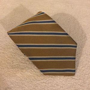 Brooks Brothers Tan w/ Blue & White Stripe Tie